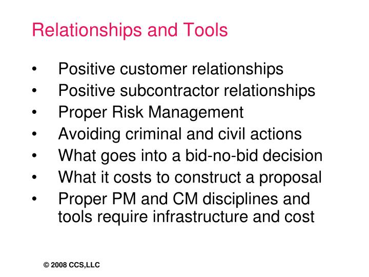 Relationships and Tools