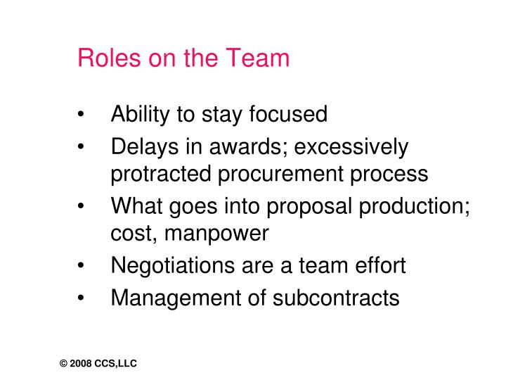 Roles on the Team