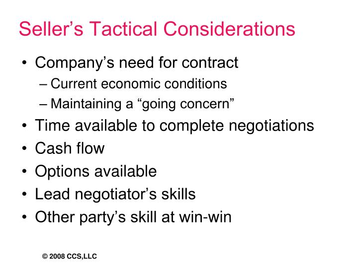 Seller's Tactical Considerations