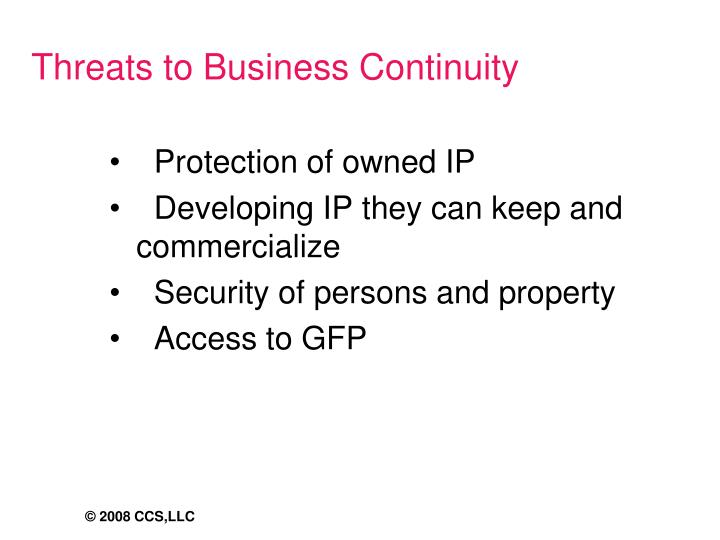 Threats to Business Continuity