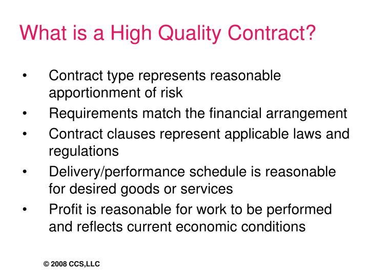 What is a High Quality Contract?