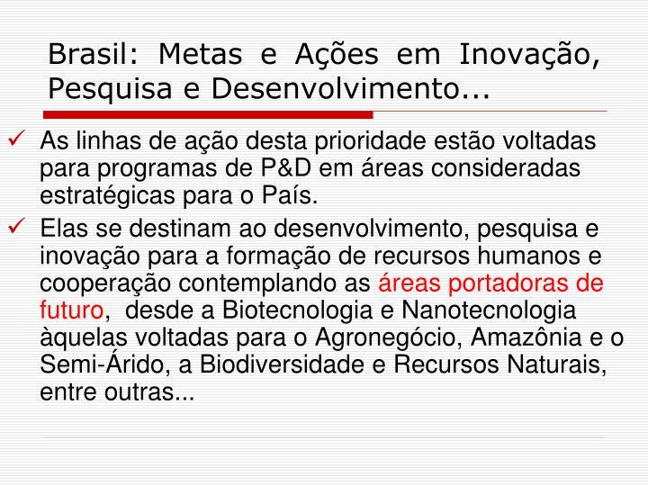 Brasil: Metas e Ações em Inovação, Pesquisa e Desenvolvimento...