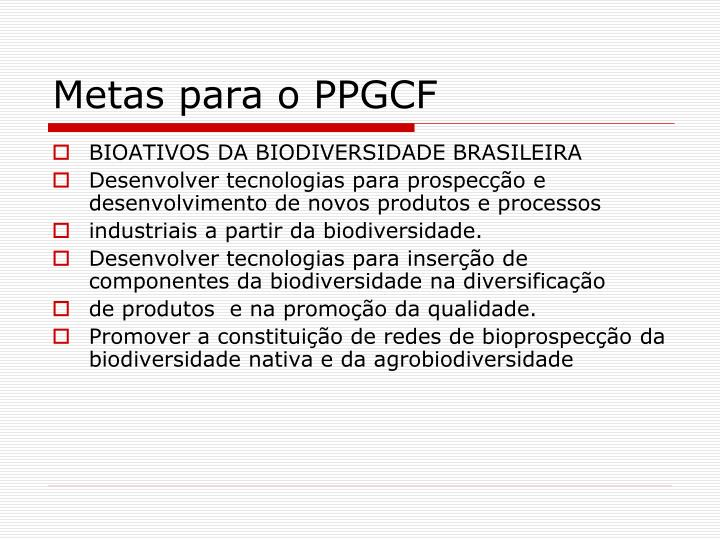 Metas para o PPGCF