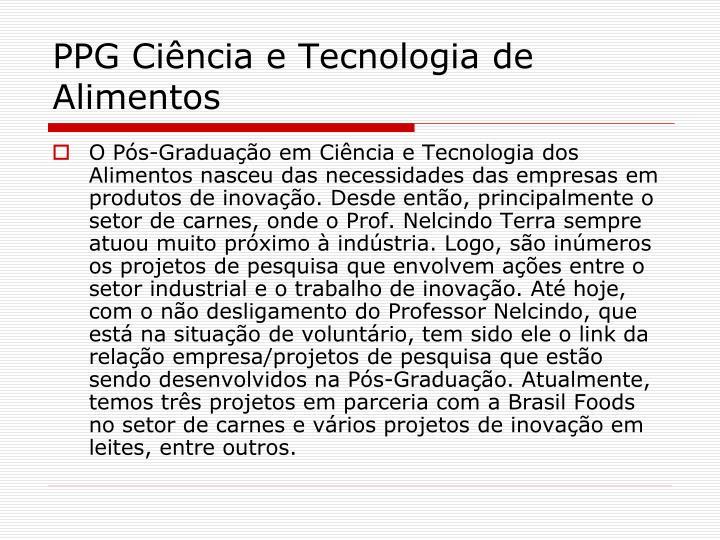 PPG Ciência e Tecnologia de Alimentos