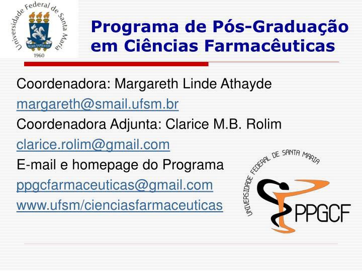 Programa de Pós-Graduação em Ciências Farmacêuticas