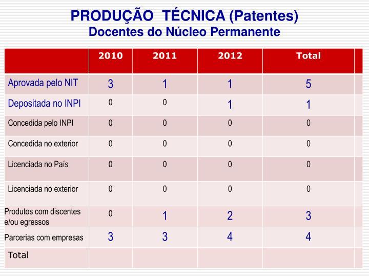 PRODUÇÃO  TÉCNICA (Patentes)
