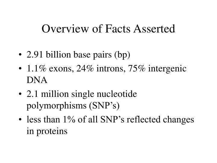 Overview of Facts Asserted