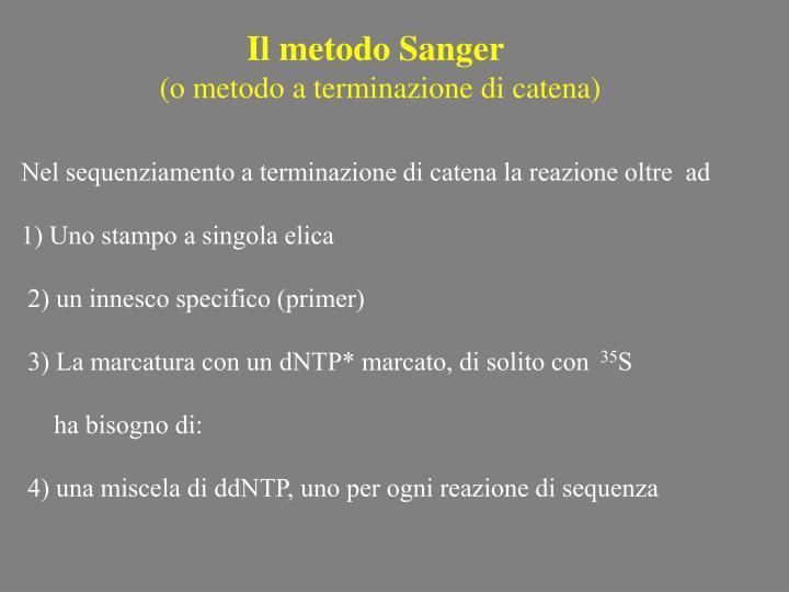 Il metodo Sanger
