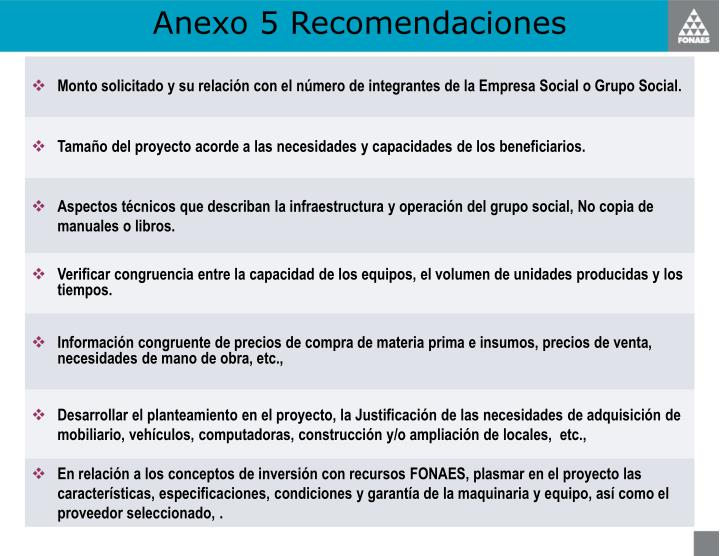 Anexo 5 Recomendaciones