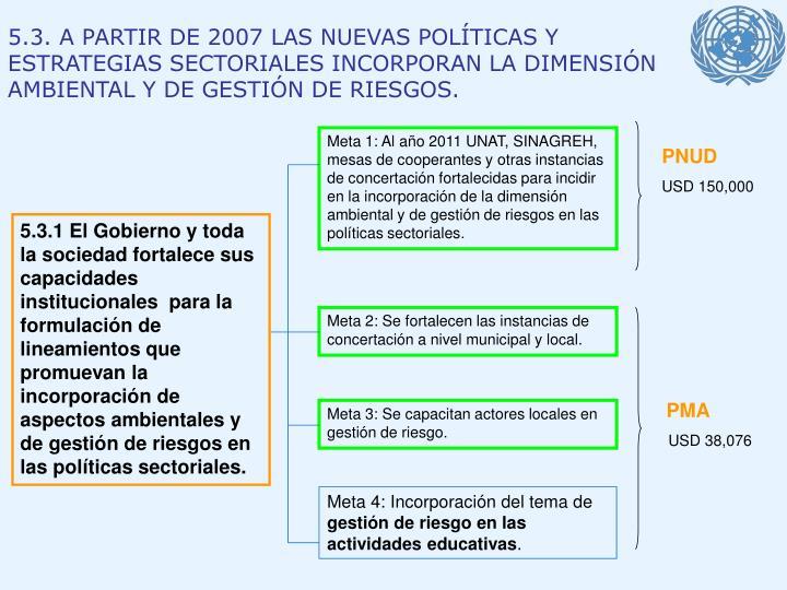 5.3. A PARTIR DE 2007 LAS NUEVAS POLÍTICAS Y ESTRATEGIAS SECTORIALES INCORPORAN LA DIMENSIÓN AMBIENTAL Y DE GESTIÓN DE RIESGOS.