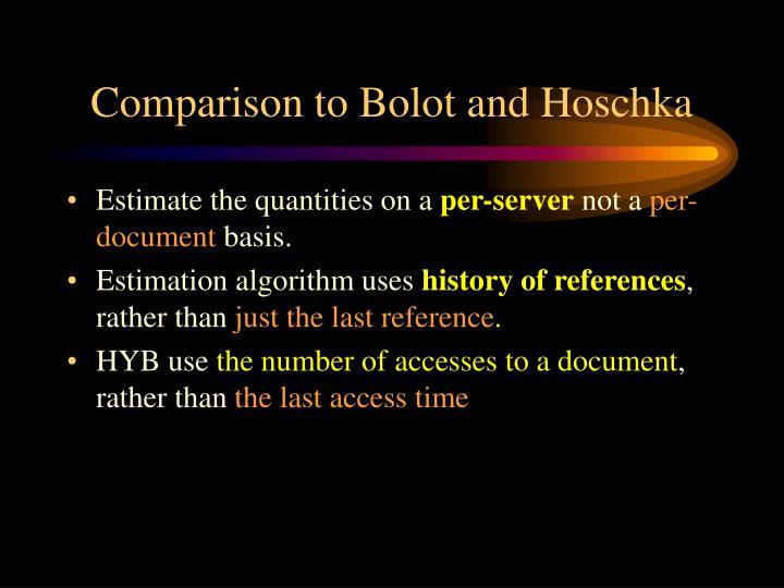 Comparison to Bolot and Hoschka