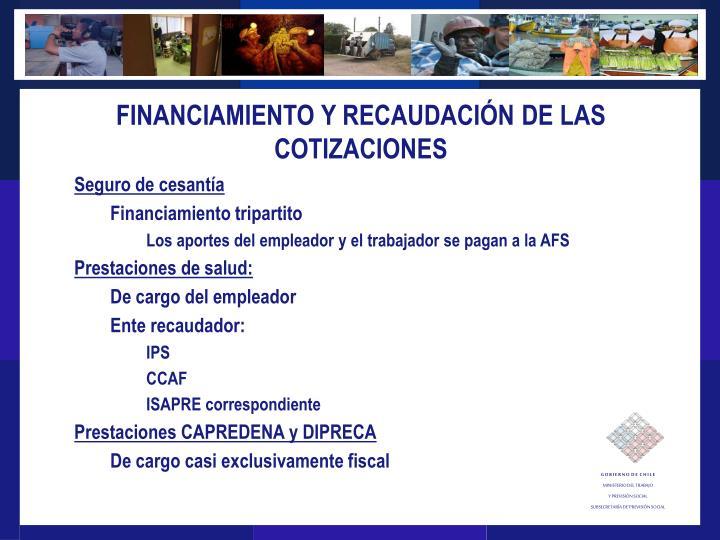 FINANCIAMIENTO Y RECAUDACIÓN DE LAS COTIZACIONES