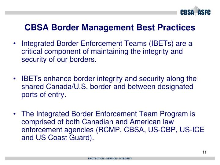 CBSA Border Management Best Practices