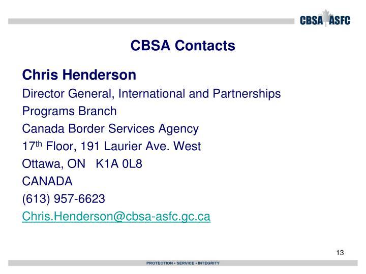 CBSA Contacts