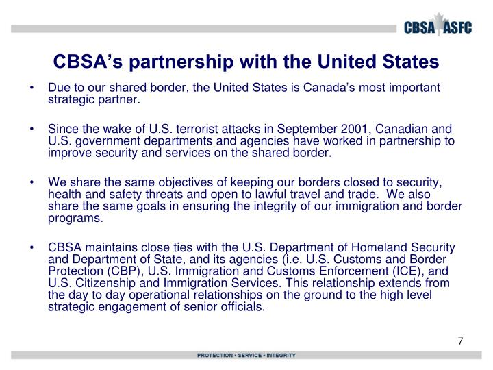 CBSA's partnership with the United States