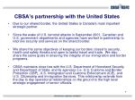 cbsa s partnership with the united states