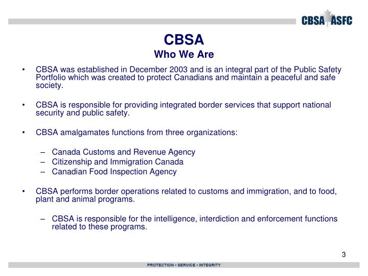 Cbsa who we are