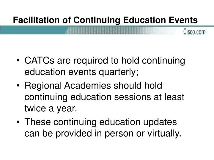 Facilitation of Continuing Education Events