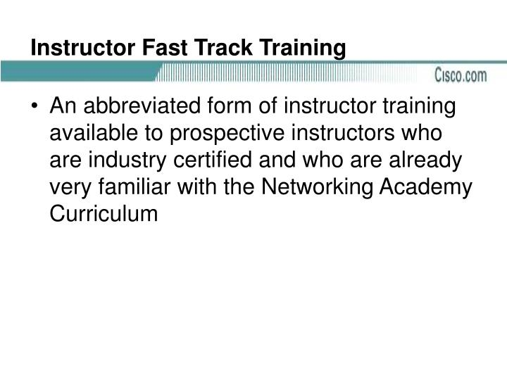 Instructor Fast Track Training