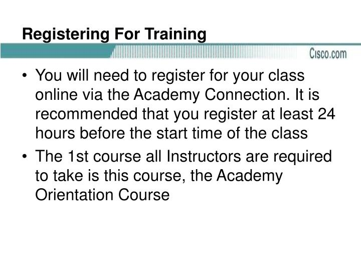 Registering For Training