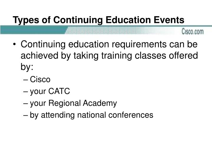 Types of Continuing Education Events