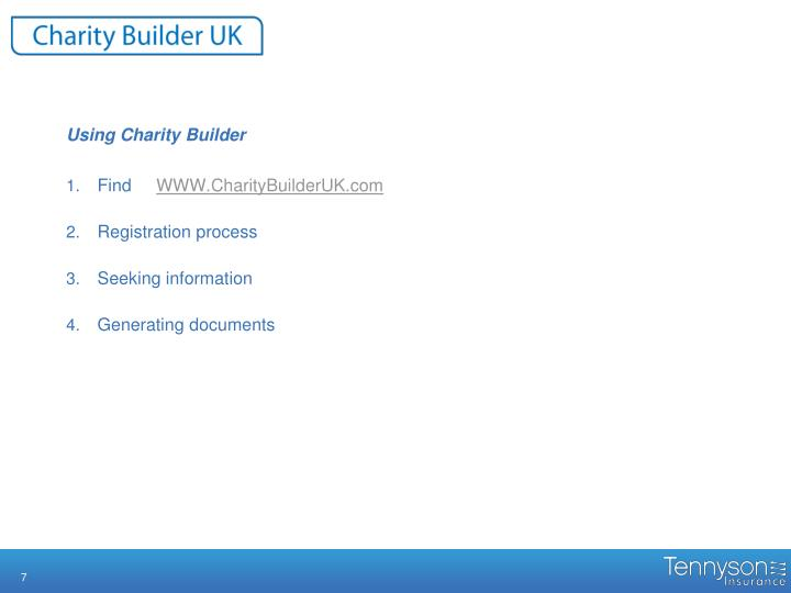 Using Charity Builder