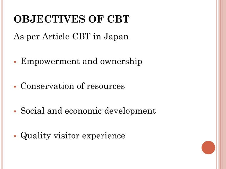 OBJECTIVES OF CBT