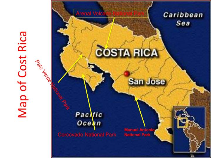 Map of Cost Rica