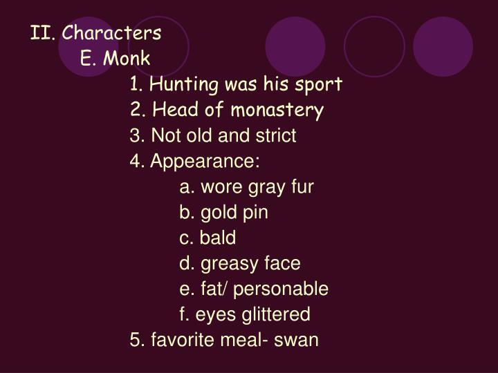 II. Characters