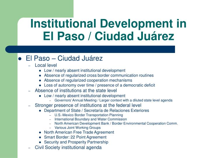 Institutional Development in
