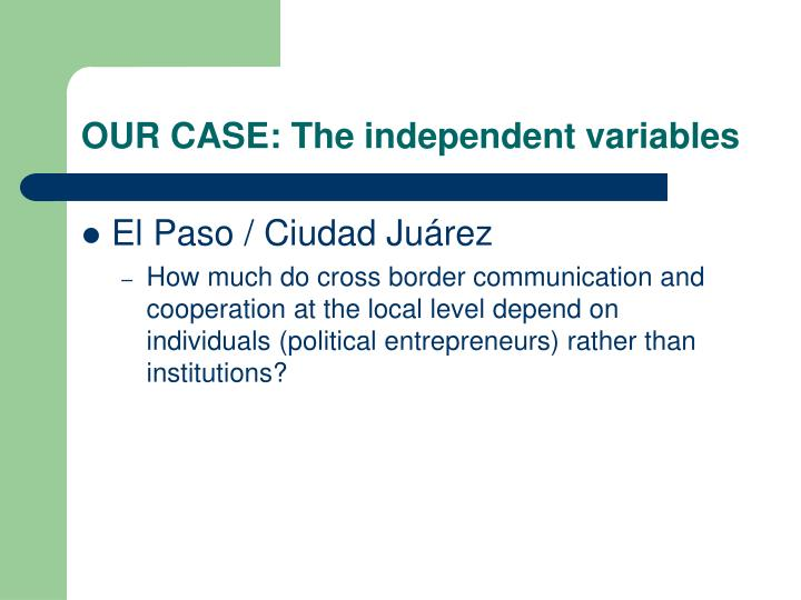 OUR CASE: The independent variables