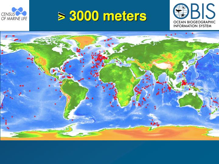 > 3000 meters