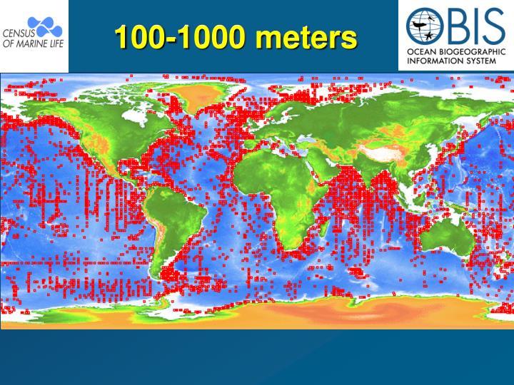 100-1000 meters