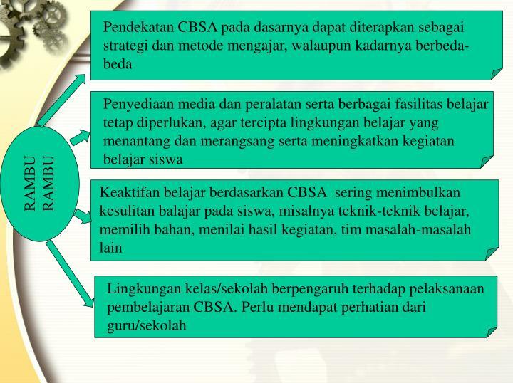 Pendekatan CBSA pada dasarnya dapat diterapkan