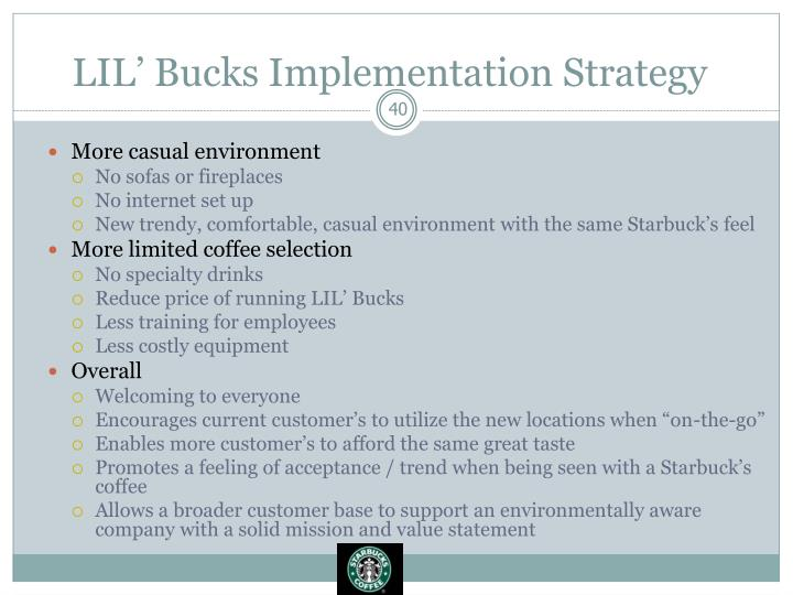 LIL' Bucks Implementation Strategy