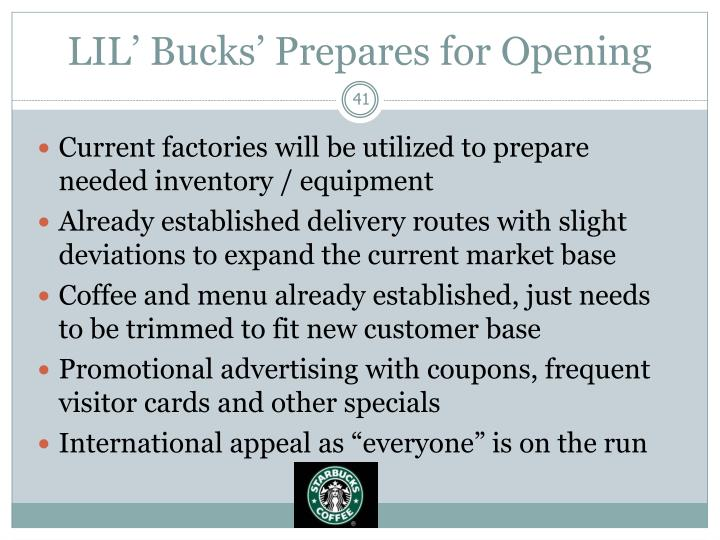 LIL' Bucks' Prepares for Opening