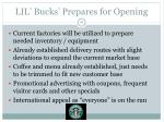 lil bucks prepares for opening