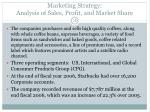 marketing strategy analysis of sales profit and market share