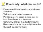 community what can we do