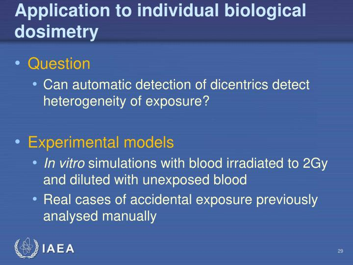 Application to individual biological dosimetry