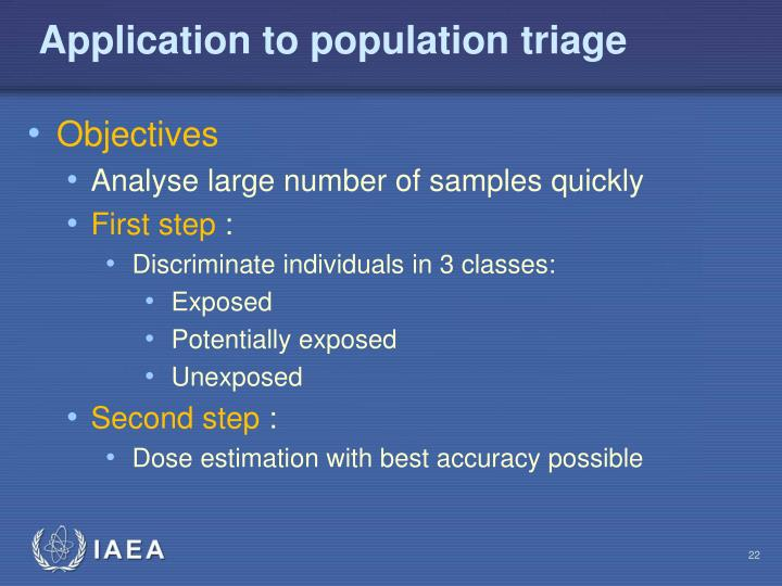 Application to population triage