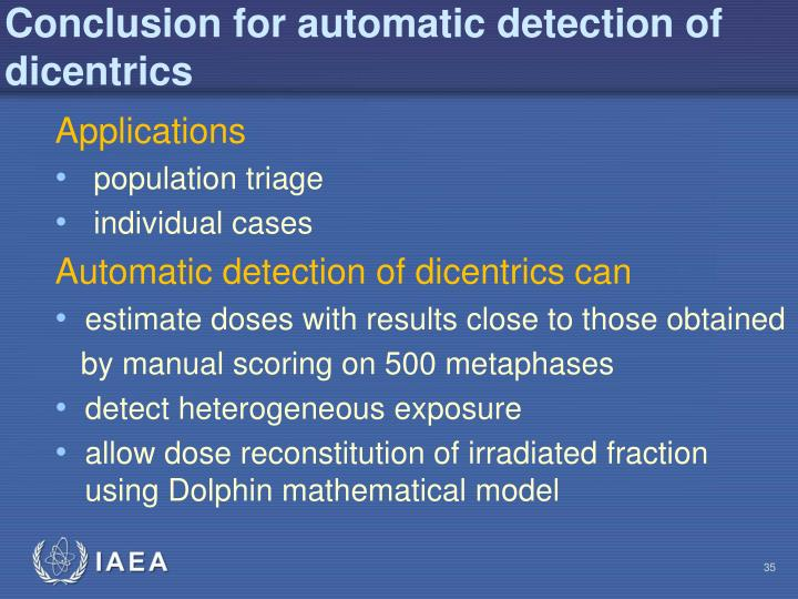 Conclusion for automatic detection of dicentrics