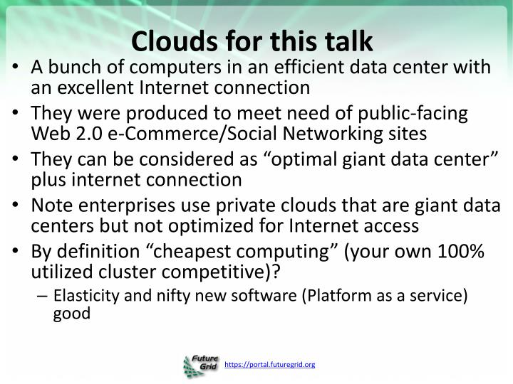Clouds for this talk