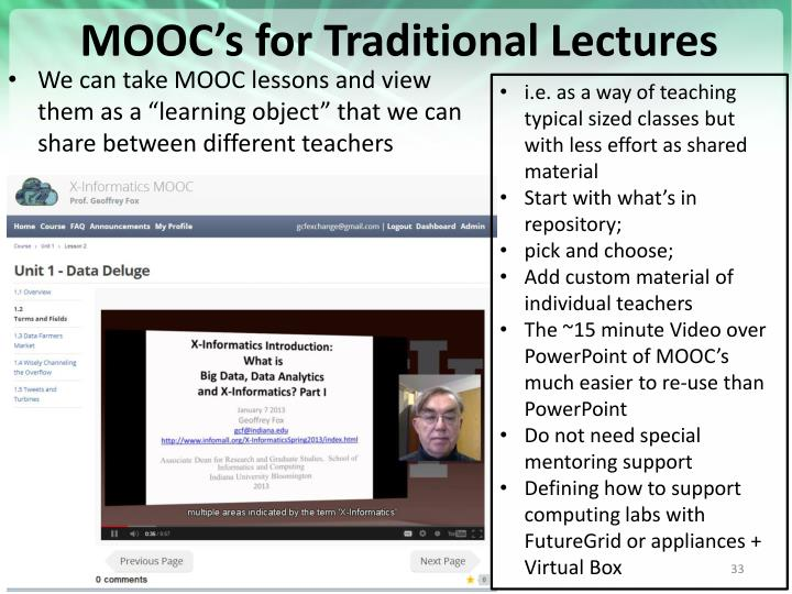 MOOC's for Traditional Lectures