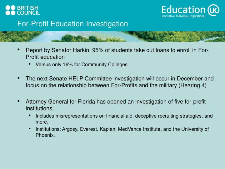 For-Profit Education Investigation