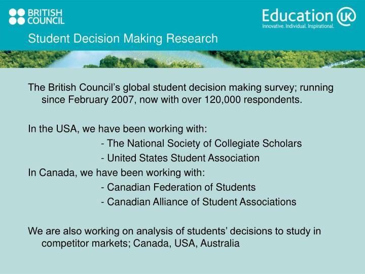 Student Decision Making Research