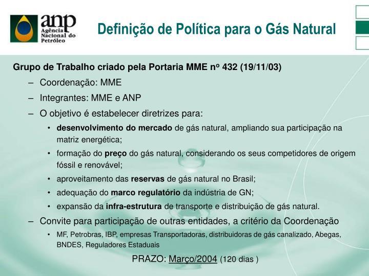 Definição de Política para o Gás Natural