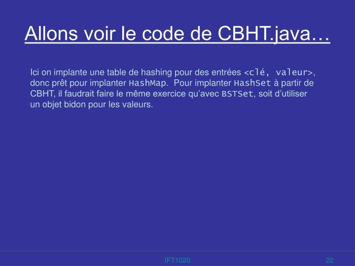 Allons voir le code de CBHT.java…
