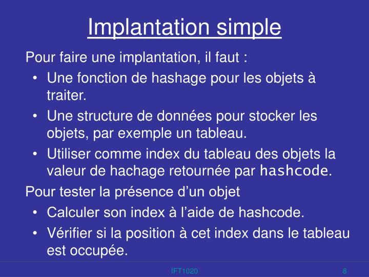 Implantation simple