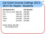 cal grant income ceilings 2013 2014 for depen students